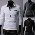 Free shipping 2015 autumn cowhide with a casual long-sleeved POLO Men