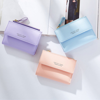 Fashion PU Leather Women Wallets Folding High Quality Purse With Coin Pocket Credit Card Holder Femail