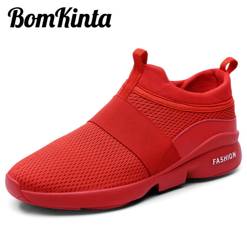 BomKinta Black White Red Men Casual Shoes Slip On Breathable Sneakers Men  Shoes Lightweight Plus Size 46 Outdoor Mans Footwear bc90f81adbad