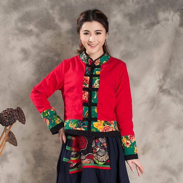 Китайские Этнические Женщины Осень Ретро Китайском Стиле Куртка Ткань Шить Куртки С Длинным Рукавом Колющими Свитер Пальто Хлопка