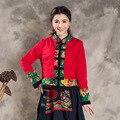 Chinese Ethnic Women Autumn Retro Chinese Style Jacket Fabric Stitching Jackets Long Sleeve Stitching Sweater Coat Cotton