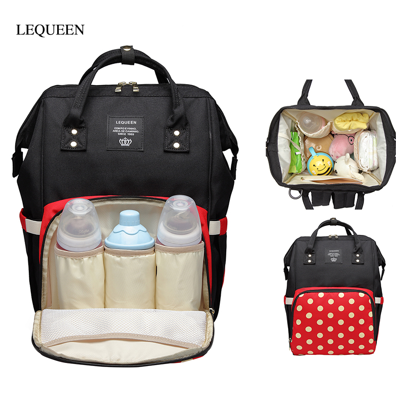 LEQUEEN Fshion Mummy Bag Maternity Diaper Bags Baby Care Large Capacity Polka Dot Nursing Outdoor Travel Zip Backpack Baby Care