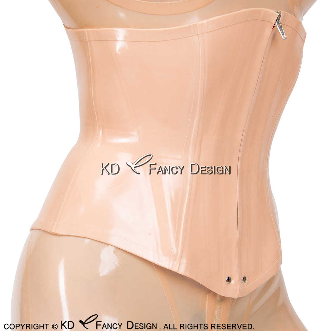 Baby Pink Sexy Latex Corsets  Lacing At Back Rubber Bustiers Top Clothing 0.4mm CY-0021