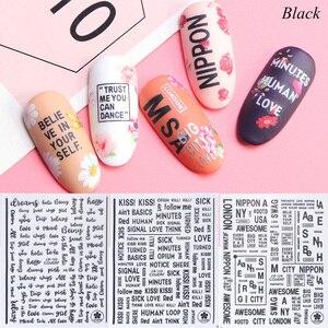 Image 2 - 1pcs Alphabet 3D Nail Sticker Decals Black White Silver Letter Sliders Manicure Decoration Adhesive Nail Art Tips JICB122 124