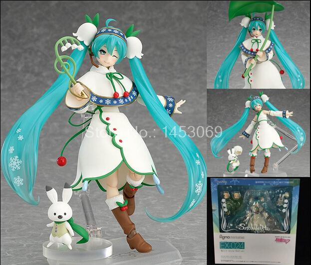 Hatsune Miku Figma 024 Snow Miku Snow Bell ver. PVC Action Figure Collectible Model Toy free shipping 6 volcaloid hatsune miku with guitar ver boxed 14cm pvc action figure collection model doll toy figma 200