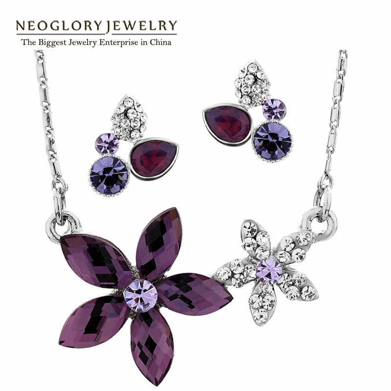 Neoglory Crystal Flower Fashion Jewelry Sets Wedding Necklace Earrings Set Indian Jewelry 2018 New Charm Brand Birthday Gifts