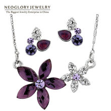 Neoglory Crystal Flower Fashion Jewelry Sets Wedding Necklace Earrings Set Indian Jewelry 2017 New Charm Brand Birthday Gifts(China)
