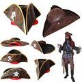 Бесплатная доставка пиратского капитана шляпу косплей ну вечеринку джек треугольник шляпа искусственной кожи взрослых мужская карие пират хэллоуин крышка