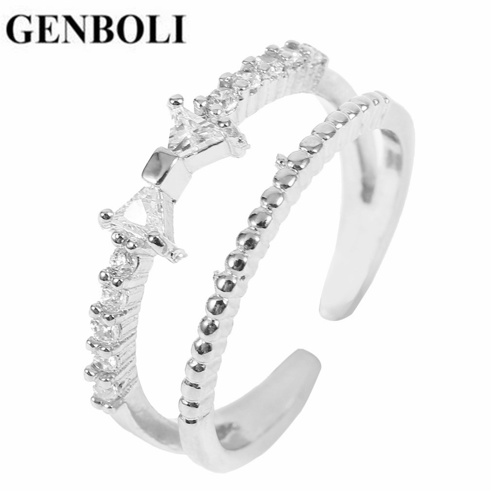 New Arrival Special Design Women Double Layer Ring Zircon Bowknot Decoration Creative Party Wedding Ring For Women Jewelry