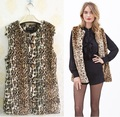 HOT SALE Autumn&Winter Popular Fashion Women Leopard printing Faux fur Vest Coa Women fur COAT