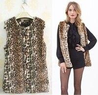 HOT SALE Autumn&Winter Popular Fashion Women Leopard printing Faux fur Vest Coa Women fur COAT