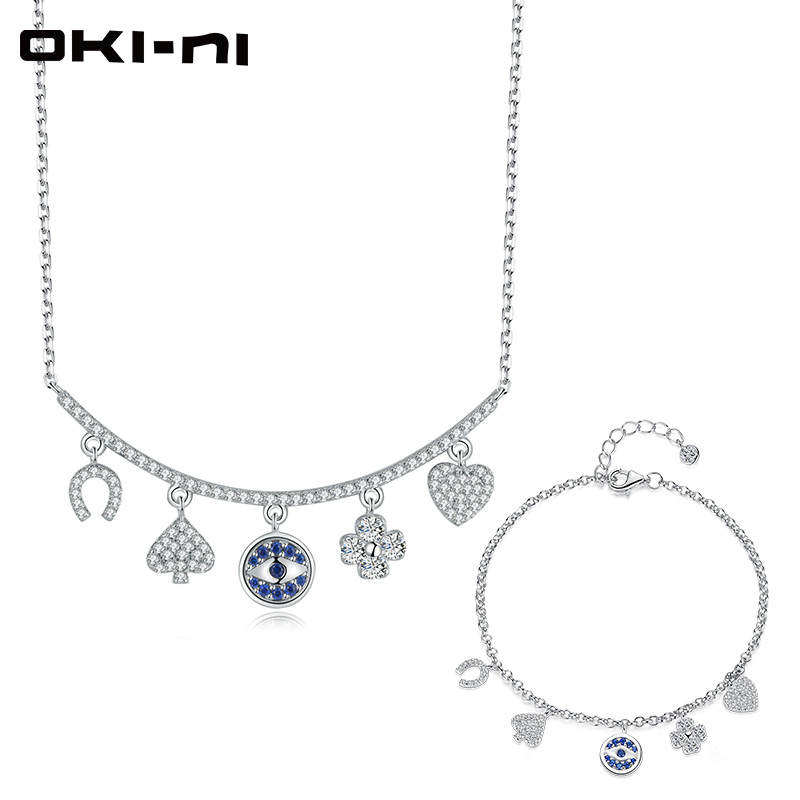 OKI NI Hot New Sterling 925 Silver Jewelry Sets & More Necklace & Bracelet Set Chain With Pendant Gift set For Women TZ XLYJM 58