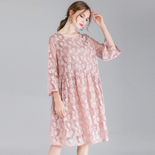 large size Womens fashion casual loose hollow out Lace dresses Plus High waist High-end Elegant dress spring new oversize