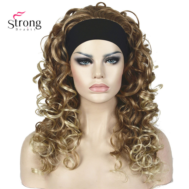 Long Curly Blonde/Brown Synthetic HeadBand Wig Women's Wigs
