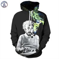 Headbook Einstein Hoodies Men Women Sweatshirts 3d Print Einstein Smoking Thin Unisex Hooded Tracksuits Tops Pullovers