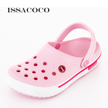 ISSACOCO Womens Slippers Shoes Woman Jelly Summer Thick Bottom Baotou Hole Beach Sandals Sandalias Terlik