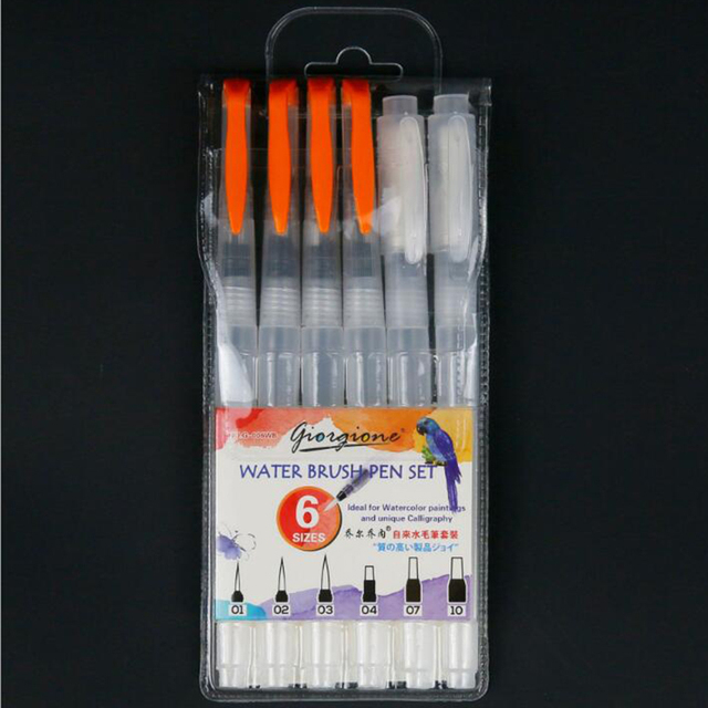 3/6 PCS Set Water Paint Soft Brush Pen Watercolor Brush Pen refillable Nylon Brush Tip Pen For Painting Drawing Art Supplies 5