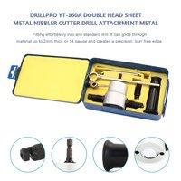 Drillpro YT 160A cabeça dupla folha de metal nibbler cortador broca acessório metal broca kit com chave e peças|Acessórios para ferramenta elétrica| |  -