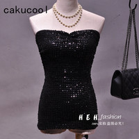 Cakucool Hot Women Summer Tube Top Backless Sexy Sequined Camisole Strapless Tank Bling Club Basic Camis Top Feminino Spaghetti