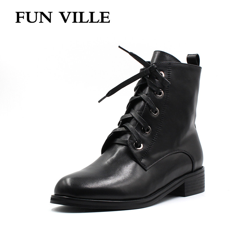 FUN VILLE 2017 New winter Women Ankle snow Boots Genuine leather Hign quality Martin boots black Flat shoes for woman Round Toe high quality genuine leather square heels martin boots for women round toe platform winter rhinestone snow martin boots