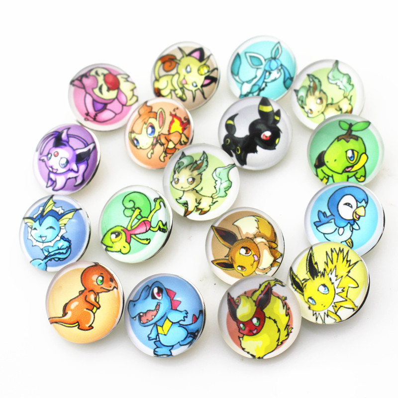Mix 12pcs glass 18mm Pokemon Series Snap Buttons Charms Fit Snap Bracelet/Necklace DIY Jewelry image
