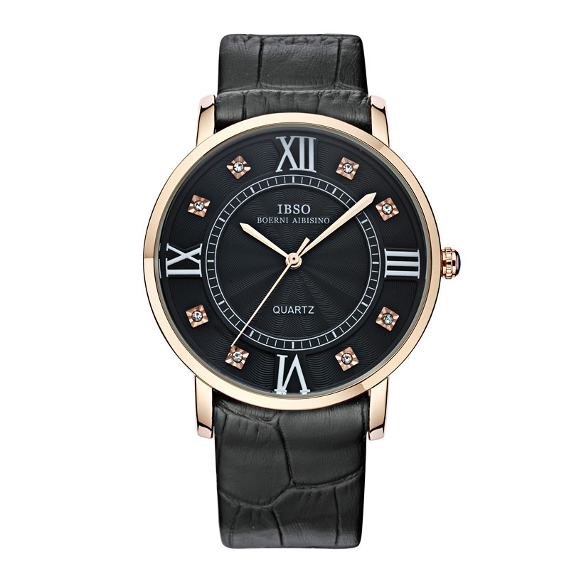 2015 Selling Brand IBSO BOERNI AIBISINO Unisex Ultra Thin Round Dial Analog Wrist Watch With Waterproof & Leather Band 8126 natate ibso women quartz watch crystal decorated large round dial analog wrist watch with waterproof woman leather band s3819