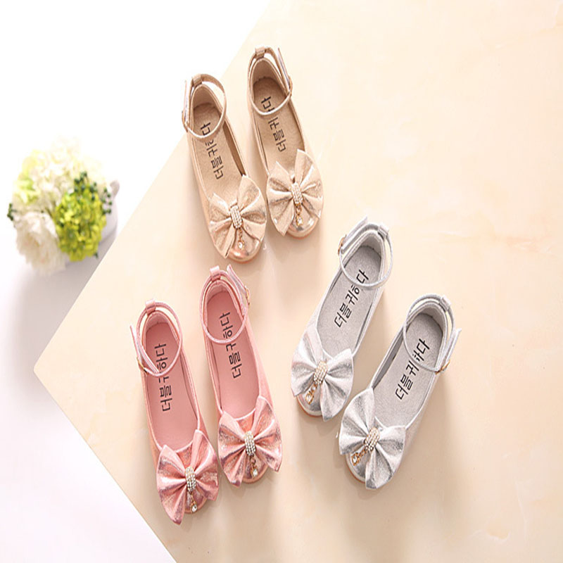 2018 Summer New Girl Wedding Party Princess Leather Shoes Silver Shoes For Girls Kids Baby Mary Single Shoes 22