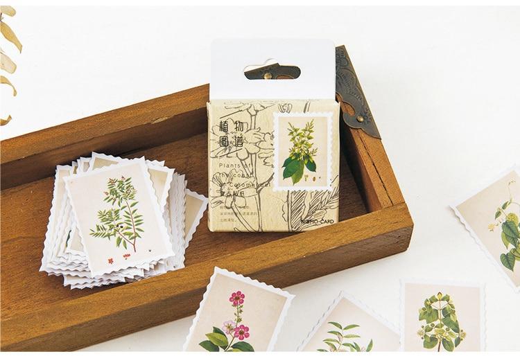 Купить с кэшбэком 45PCS/PACK Retro Plant Label Vintage Sticker Marker Planner Diary School Stationery Stickers Scrapbooking Bullet Journal sl1502