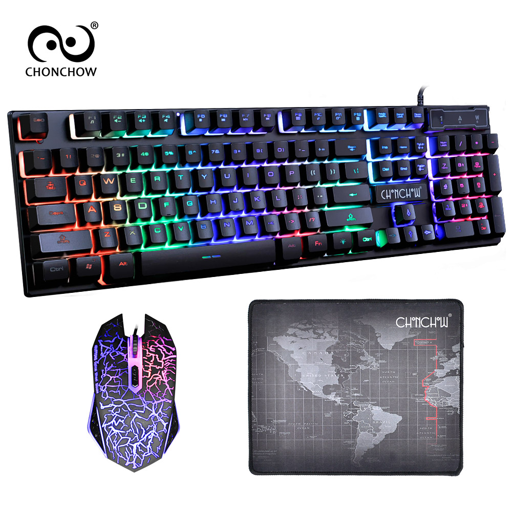 CHONCHOW 1910 Gaming Keyboard USB Wired Rainbow Backlight Game Keyboard and Mouse Combo For Computer Laptop Games Gamer ...