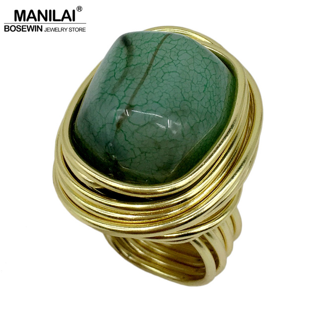 MANILAI Fashion Jewelry Wire Spiral irregularity Ice crack Resin Handmade Rings