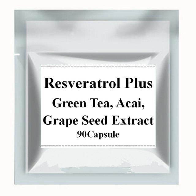 1 Paquete de Resveratrol Más Anti-envejecimiento + Té Verde, Acai, Mezcla de Extracto de Semilla De uva Cápsula 450 mg x 90 Conteos envío gratis
