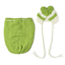 Newborn-24Months Handmade Frog Elastic Earflap+Sleeping Bag Baby Girl Boy Knitted Accessories Infant Crochet Photo Props Outfits