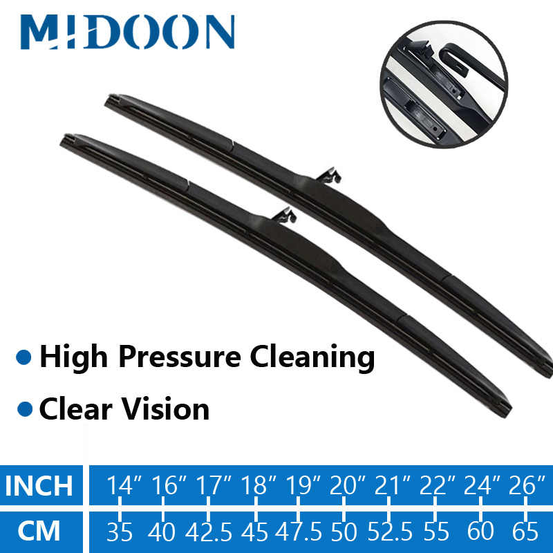 MIDOON 1pc Hybrid Wiper Blade Windscreen wiper for Toyota Corolla Sportage CRV Mazda Cx-5 Fit U-Hook Arms Only Durable Rubber