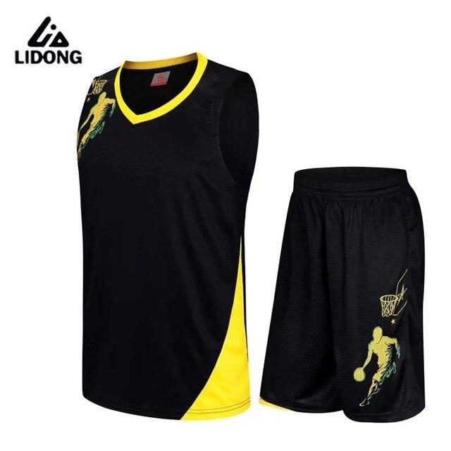 2017 New Men Basketball Jersey Sets Uniforms kits Adult Sports clothing Breathable basketball jerseys shirts shorts DIY Custom