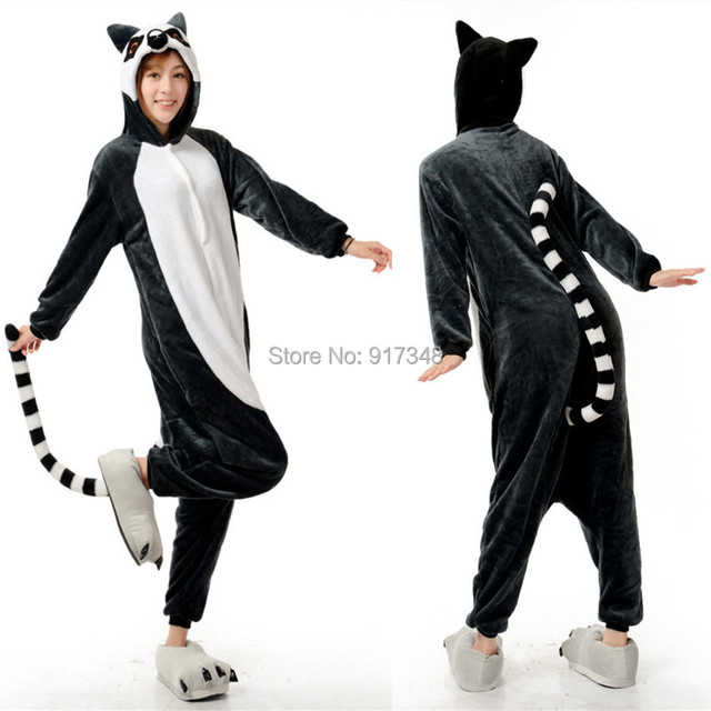 ecb7ce26c12e Novelty Animal Lemur Long Tail Monkey Adult Onesies Women Men s Pajamas  Halloween Christmas Party Costume (slipper not included)