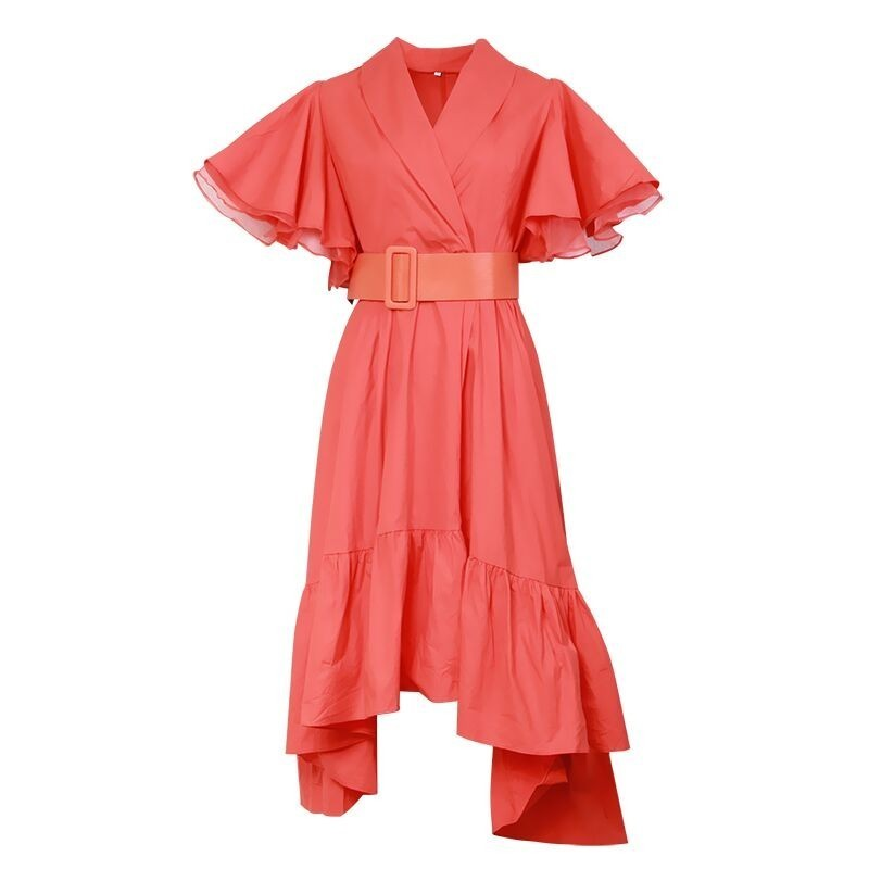 TWOTWINSTYLE Party Dresses Female V Neck Cloak Sleeve High Waist With Sashes Asymmetrical Long Dress For Women 19 Spring 9
