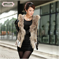 CDV162 Hot-sale Knitted short rabbit fur gilet with hood with raccoon fur trim for women