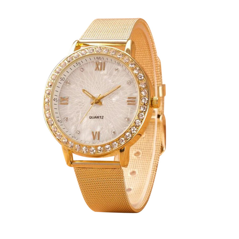 Watches Women Classy Women Crystal Roman Numerals Gold Mesh Band Wrist Watch women watches top brand luxury  %9