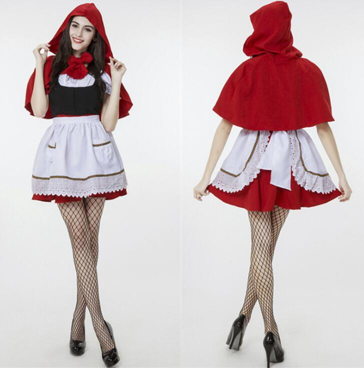 New Super Cute Little Red Riding Hood Maid Servant Cosplay Costume Dress+Cape For Halloween Christmas Masqurade
