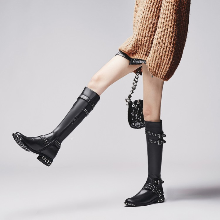 Autumn Winter Véritable À Black Métal Nubuck Faible Avec Hiver leather Moto Chaussures Bottes nubuck Femme Rivet Long Cuir Zipper Luxe Gladiateur Boot Autumn Winter De Femelle leather En 1qgwEf