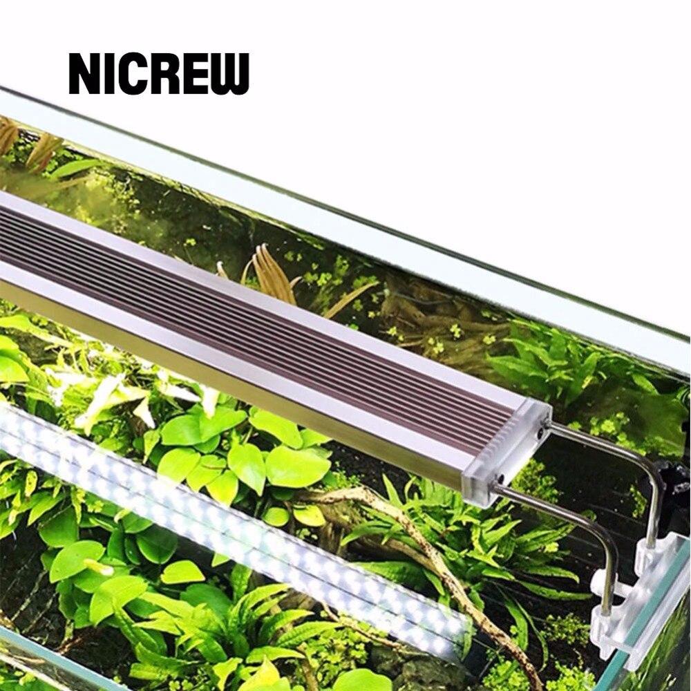Nicrew luz solar para aquário, smd, iluminação led, para aquário, 220v, 12w, 14w, 18w, 24w liga de alumínio ultra fina para tanque de peixes