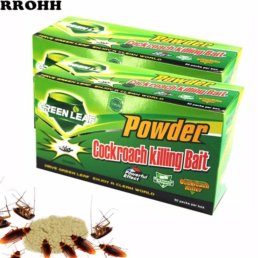 100Pc Green Leaf Cockroach Killing Bait Powder Cockroach Repeller Killer Trap Anti Pest Cockroach Powder Effective Pest Control