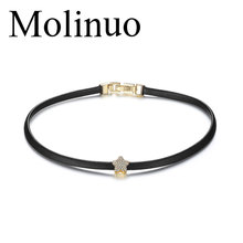 Molinuo New Fashion black Leather Choker Necklace paved cz star Pendant choker Necklaces For Women Girls недорого