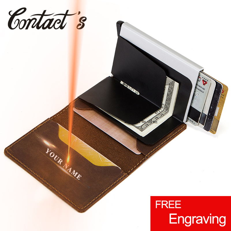 Contact's Vintage Credit Card Holder Wallet Genuine Leather Card Case Metal Men Aluminium Blocking Holder For Cards Travel Purse