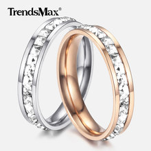 Silver / Rose Gold Cubic Zircon Rings for Women Men Stainless Steel Ring Engagement Wedding Band Valentines Gifts 4mm KRM43(Hong Kong,China)