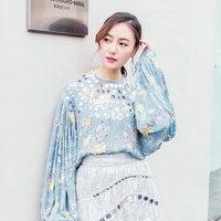 UNIQUEWHO дамы Для женщин 100% чистый шелк Блузка Топы ручной вышивки бисером дворец Стиль Фонари рукавом светло голубой блузки один размер