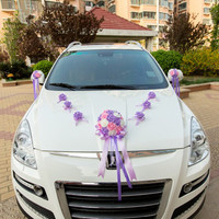 New 13pcs/lot Wedding Car Decoration Wedding Flower Car Door Handles and Rearview Mirror Decoration diy