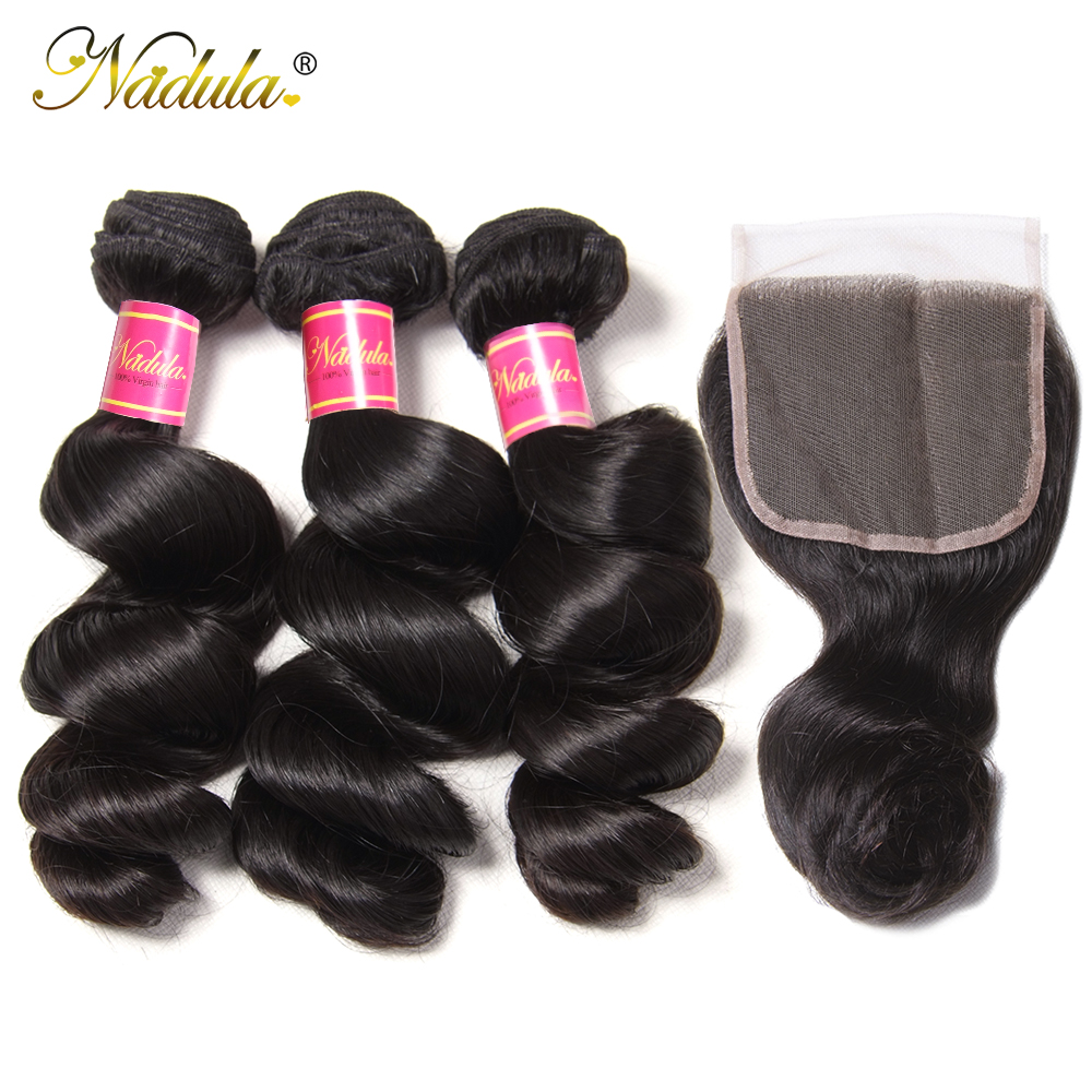 Nadula Hair  Loose Wave Bundles With Closure  Bundles With Closure 4*4 Swiss Lace Closure With Bundles 1