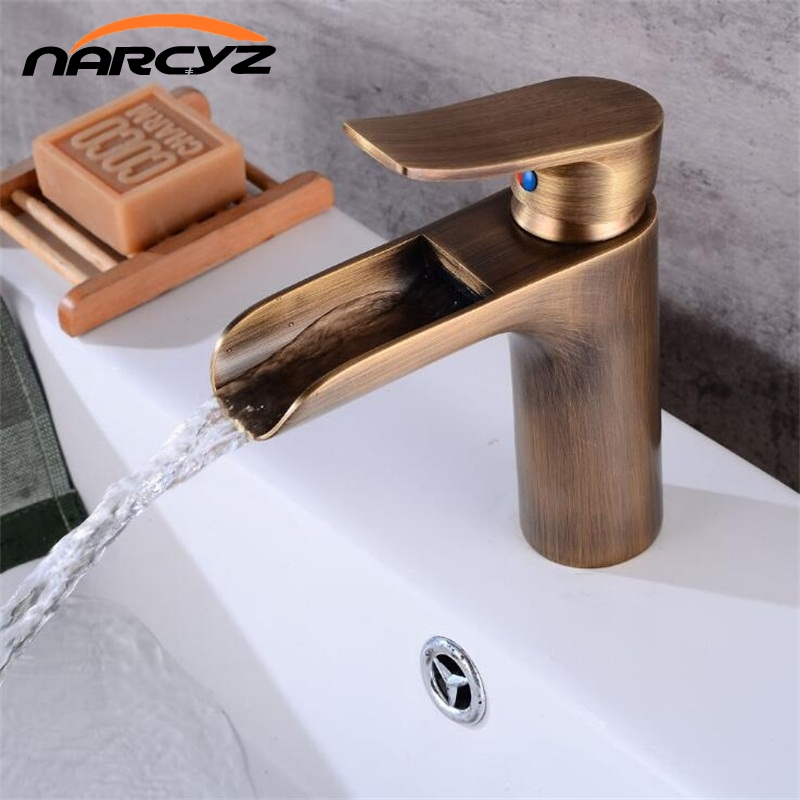 Antique/Black waterfall faucet bathroom single handle black basin mixer sink tap cold and hot basin mixer waterfall tap XT954