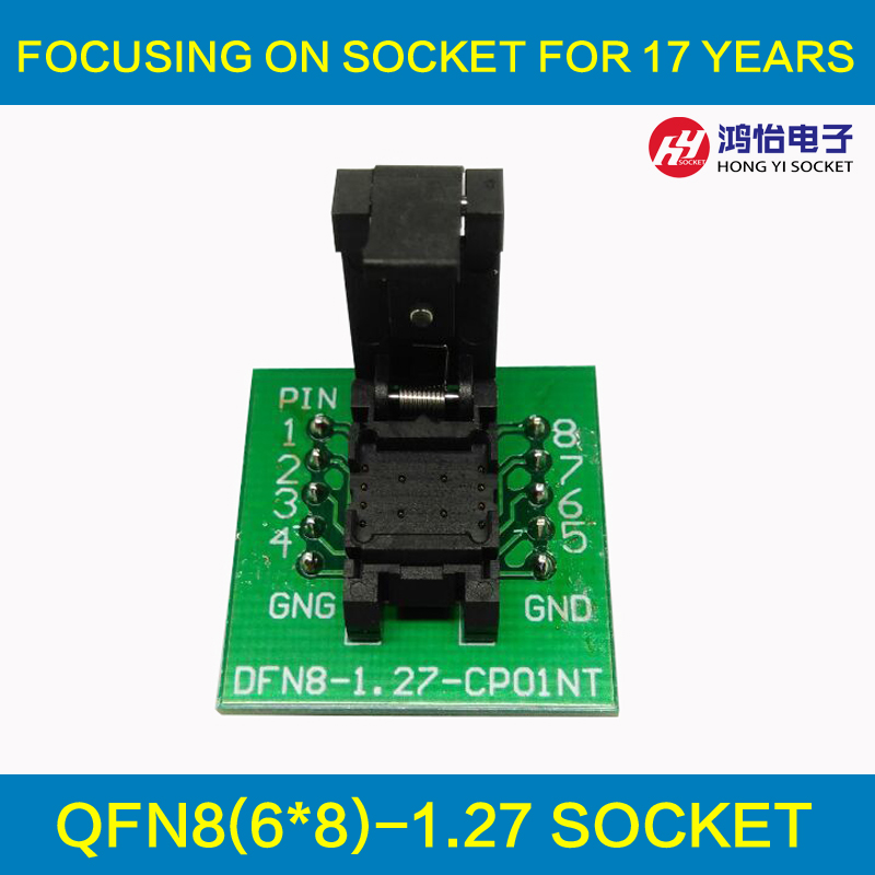 QFN8 DFN8 WSON8 Programming Socket Pogo Pin Test Adapter QFN8-1.27-CPO1PNL Pin Pitch 1.27mm IC Body Size 6*8mm Burn in Socket qfn 0808 01 adapter qfn8 d8 wson8 dip8 programming adapter dfn5x6a 8 test socket